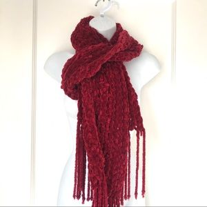 Accessories - Thick Chenille Red Long Fringe Scarf